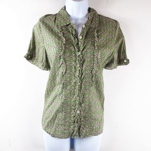 Green Ruffled Short Sleeve Button Down Blouse